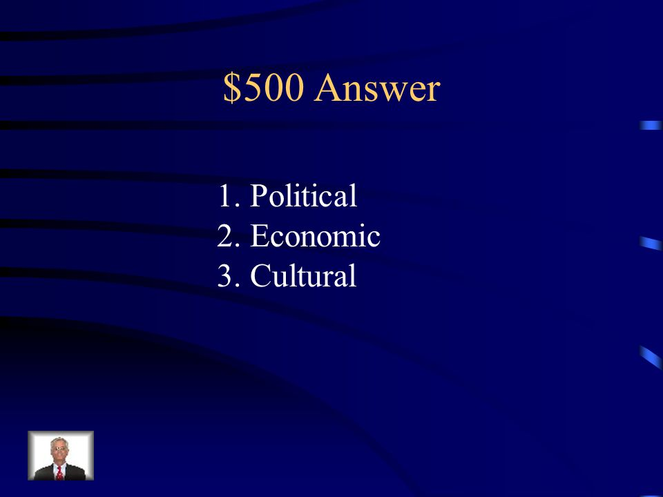 $500 Question from Colonization/Independence What were the three main reasons for European imperialism in Africa