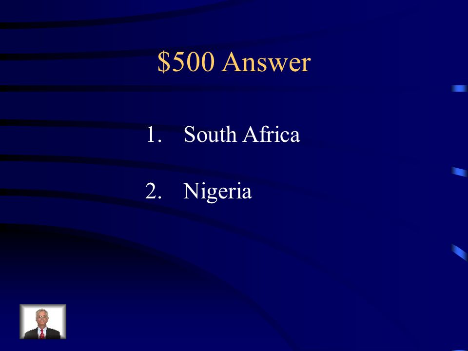 $500 Question from Modern Africa 1.Which African nation, currently, has the best economy in Africa.