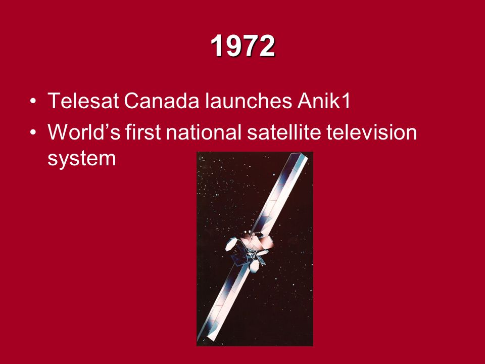 1972 Telesat Canada launches Anik1 World's first national satellite television system