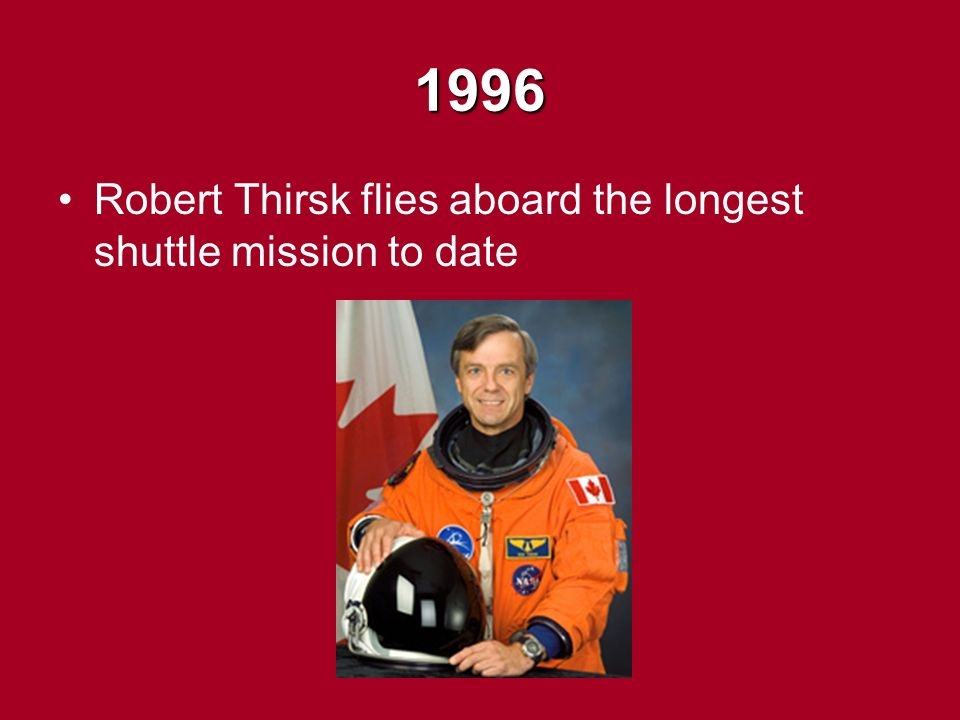 1996 Robert Thirsk flies aboard the longest shuttle mission to date