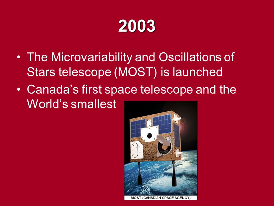 2003 The Microvariability and Oscillations of Stars telescope (MOST) is launched Canada's first space telescope and the World's smallest
