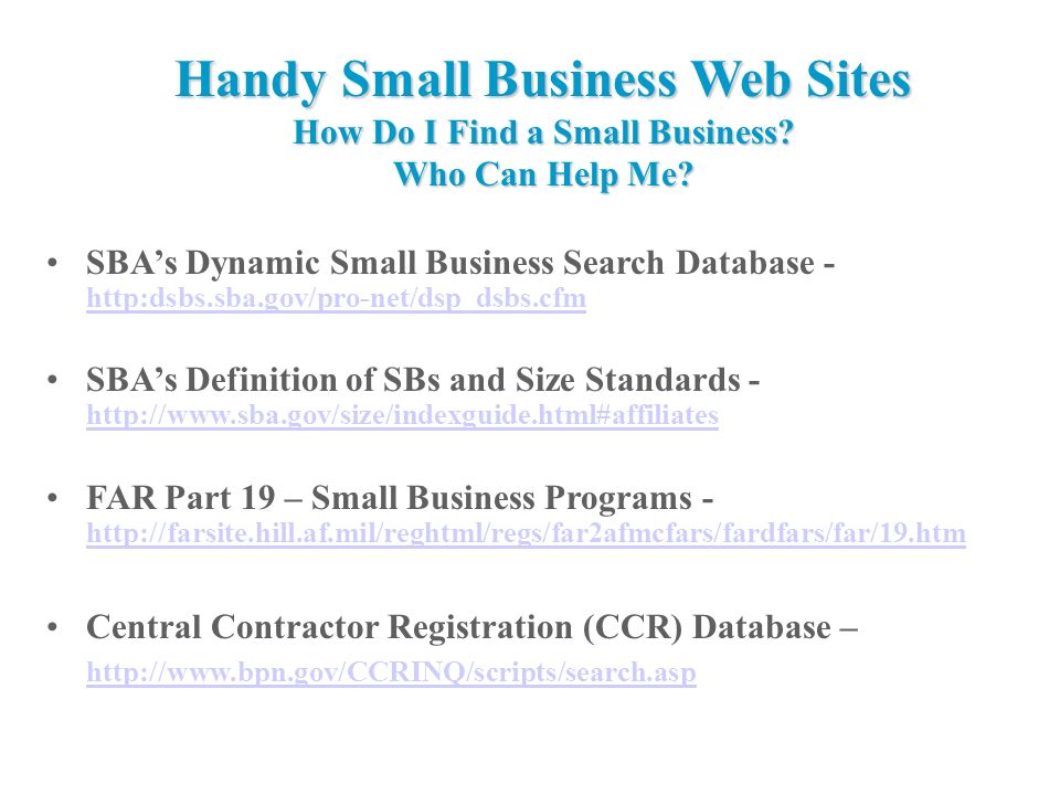 HandySmallBusiness WebSites How Do I Find a Small Business.