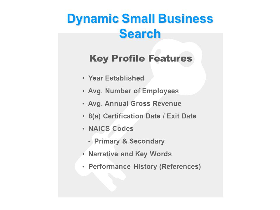 DynamicSmallBusiness Search Dynamic Small Business Search Key Profile Features Year Established Avg.