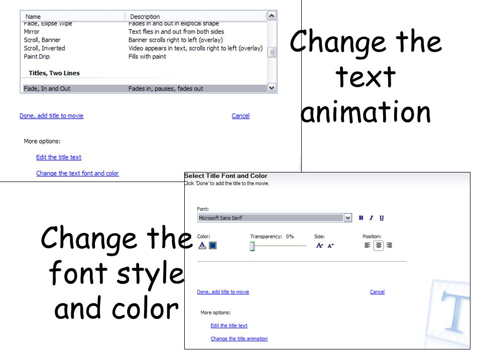 Change the text animation Change the font style and color