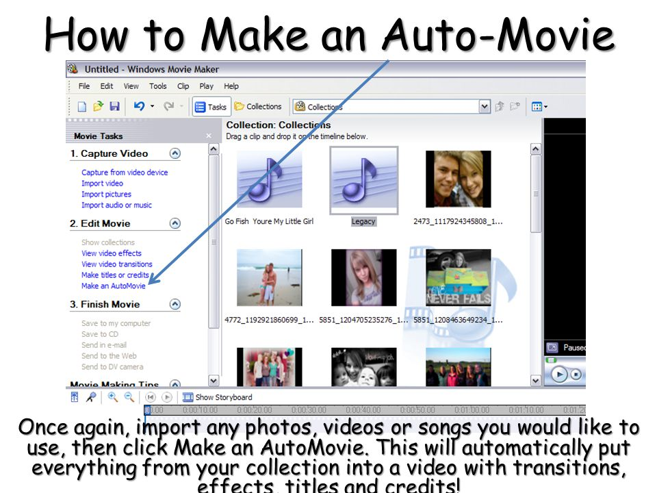 How to Make an Auto-Movie Once again, import any photos, videos or songs you would like to use, then click Make an AutoMovie.