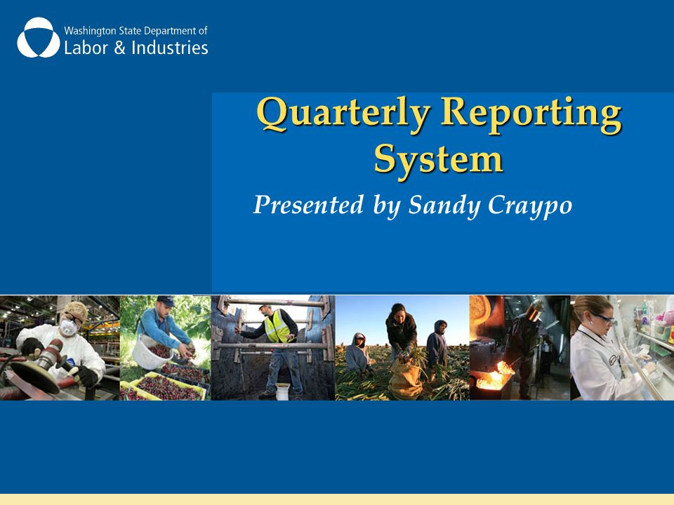 Quarterly Reporting System Presented by Sandy Craypo
