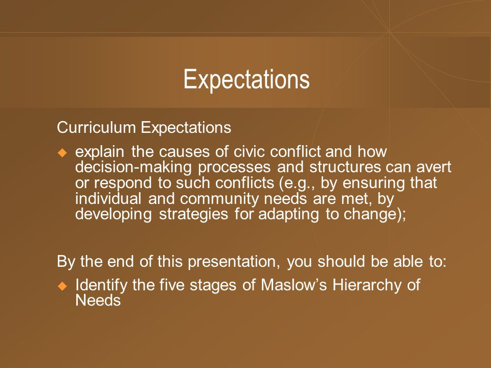 Expectations Curriculum Expectations  explain the causes of civic conflict and how decision-making processes and structures can avert or respond to such conflicts (e.g., by ensuring that individual and community needs are met, by developing strategies for adapting to change); By the end of this presentation, you should be able to:  Identify the five stages of Maslow's Hierarchy of Needs