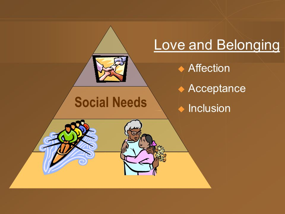 Social Needs  Affection  Acceptance  Inclusion Love and Belonging