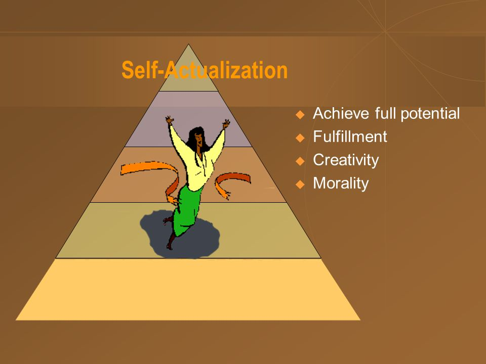 Self-Actualization  Achieve full potential  Fulfillment  Creativity  Morality