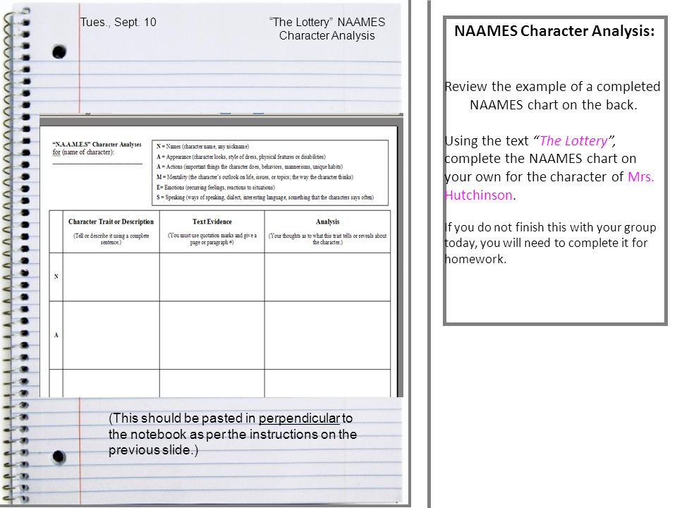 NAAMES Character Analysis: Review the example of a completed NAAMES chart on the back.