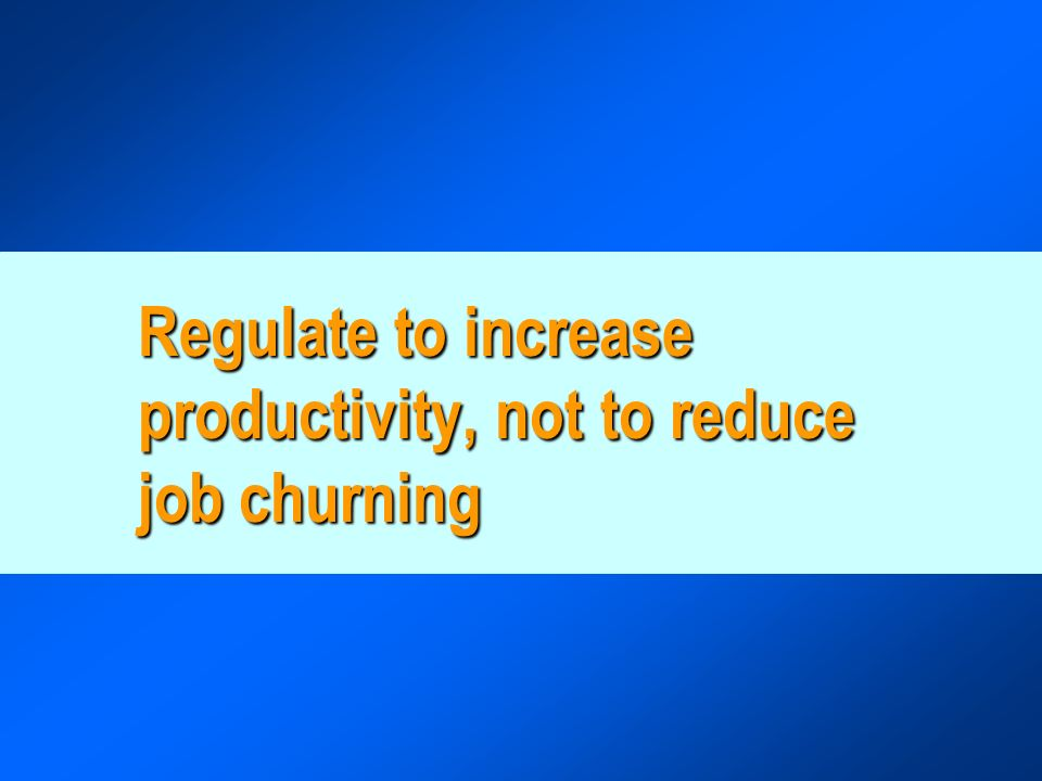 Regulate to increase productivity, not to reduce job churning