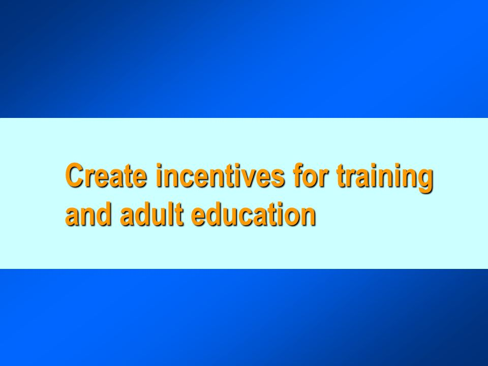Create incentives for training and adult education