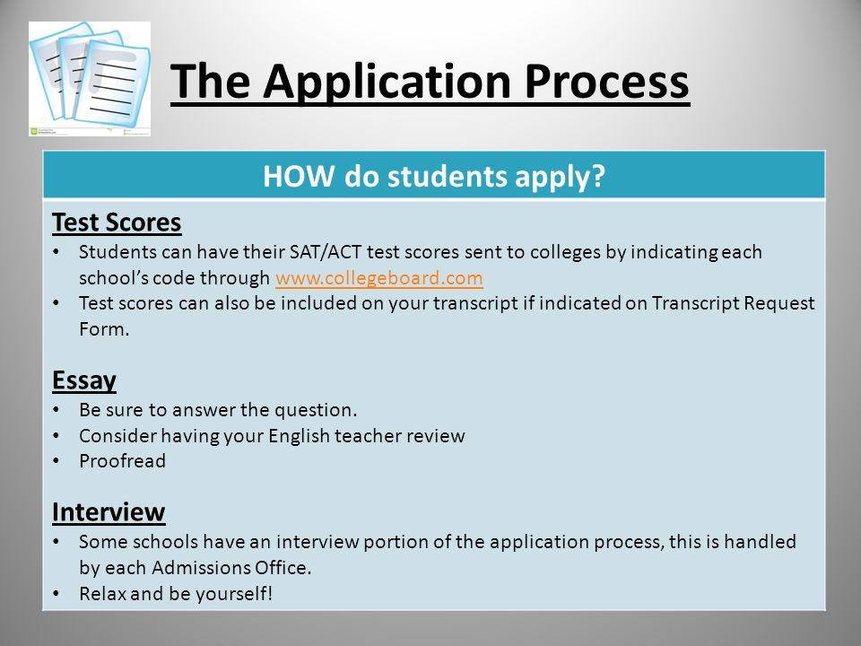 The Application Process HOW do students apply.