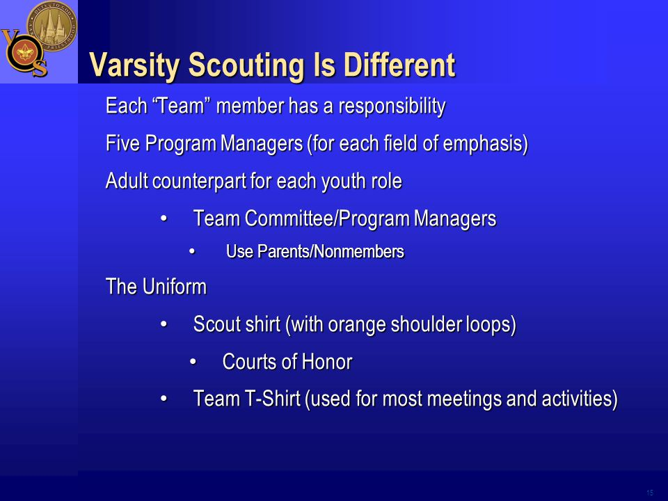 Varsity Scouting Is Different Each Team member has a responsibility Five Program Managers (for each field of emphasis) Adult counterpart for each youth role Team Committee/Program Managers Team Committee/Program Managers Use Parents/Nonmembers Use Parents/Nonmembers The Uniform Scout shirt (with orange shoulder loops) Scout shirt (with orange shoulder loops) Courts of Honor Courts of Honor Team T-Shirt (used for most meetings and activities) Team T-Shirt (used for most meetings and activities) 15