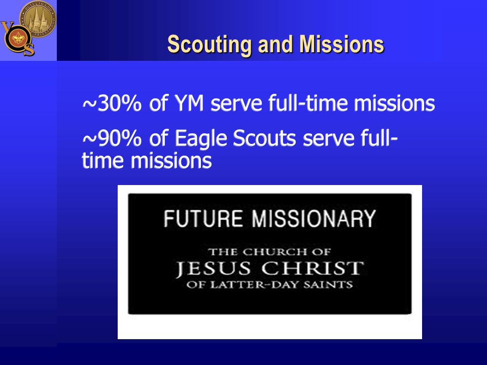 Scouting and Missions ~30% of YM serve full-time missions ~90% of Eagle Scouts serve full- time missions ~30% of YM serve full-time missions ~90% of Eagle Scouts serve full- time missions