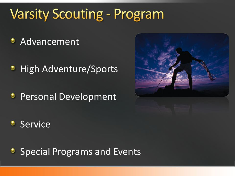 Advancement High Adventure/Sports Personal Development Service Special Programs and Events