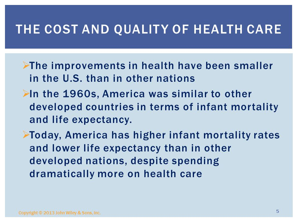  The improvements in health have been smaller in the U.S.