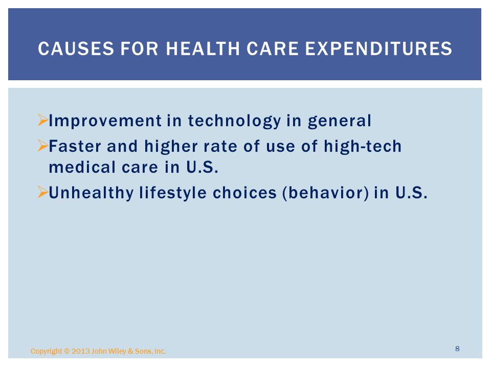  Improvement in technology in general  Faster and higher rate of use of high-tech medical care in U.S.
