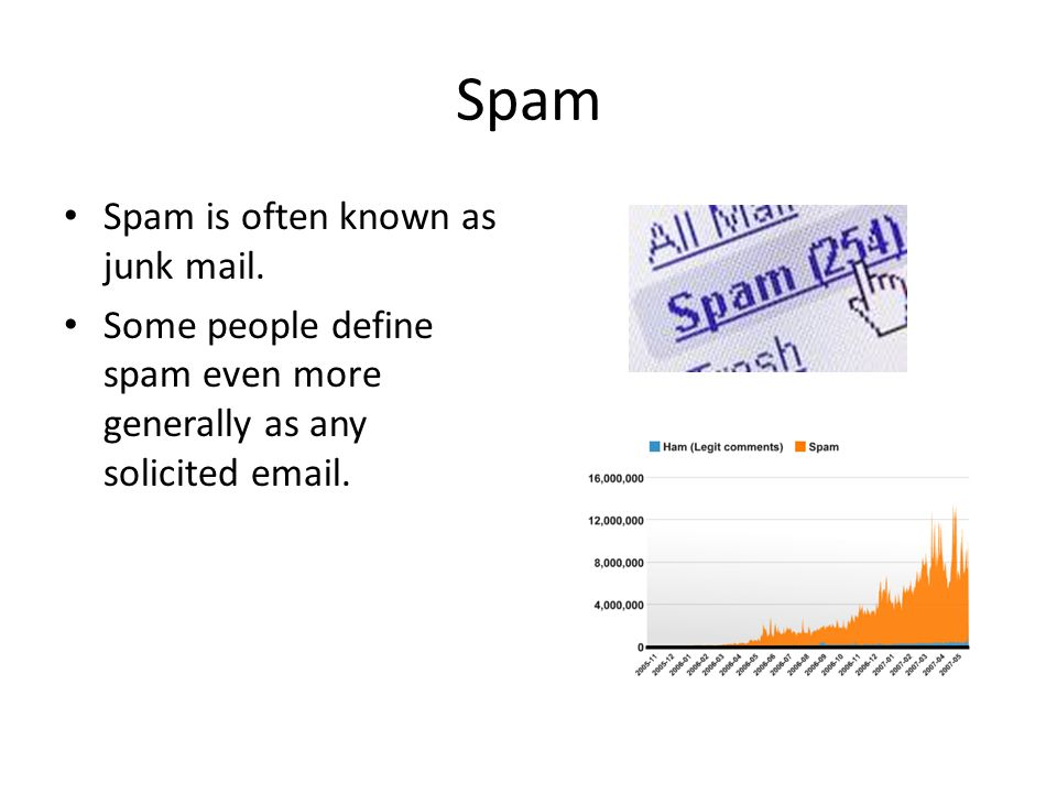 Spam Spam is often known as junk mail.