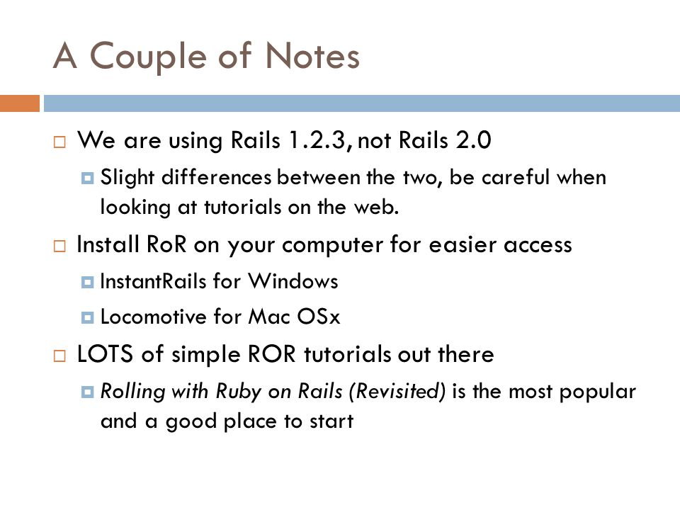 RUBY ON RAILS CS 186 – Arsalan Tavakoli 3/18/2008 Slides