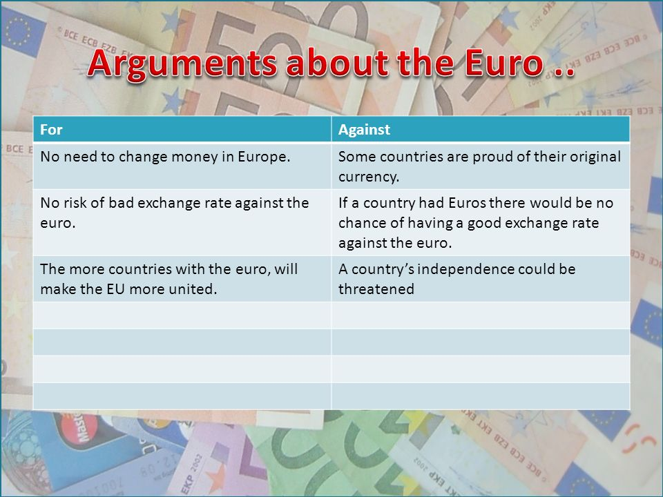 ForAgainst No need to change money in Europe.Some countries are proud of their original currency.