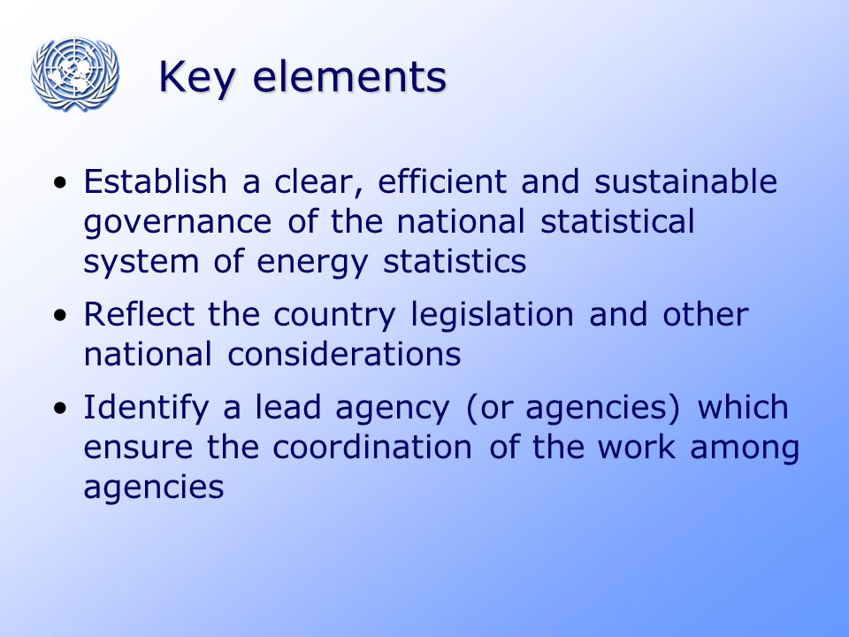 Key elements Establish a clear, efficient and sustainable governance of the national statistical system of energy statistics Reflect the country legislation and other national considerations Identify a lead agency (or agencies) which ensure the coordination of the work among agencies