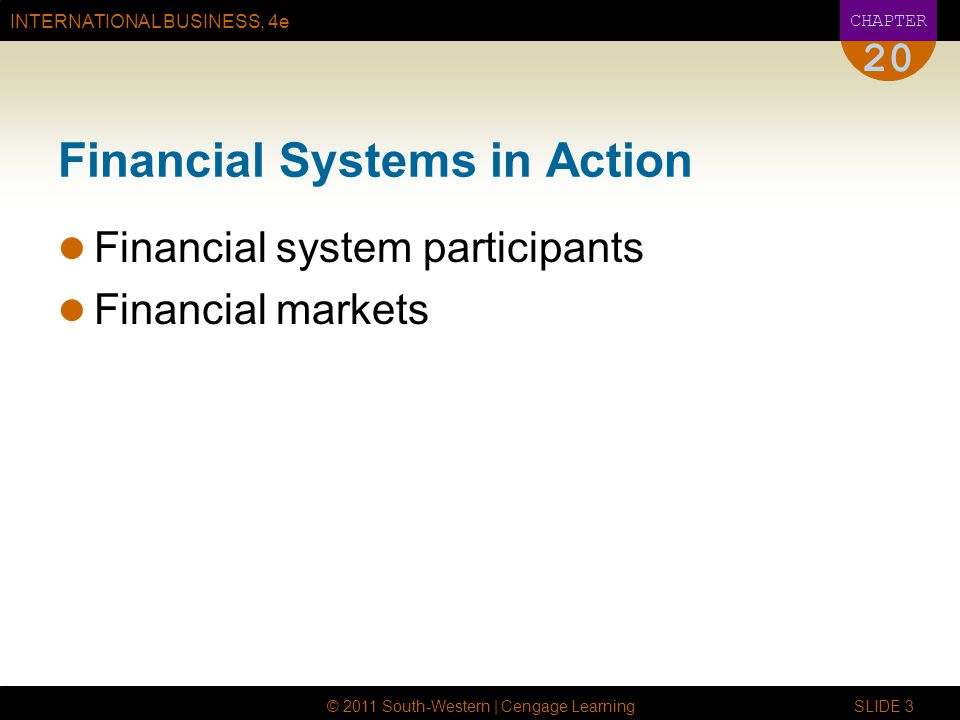 INTERNATIONAL BUSINESS, 4e CHAPTER © 2011 South-Western | Cengage Learning SLIDE 3 20 Financial Systems in Action Financial system participants Financial markets
