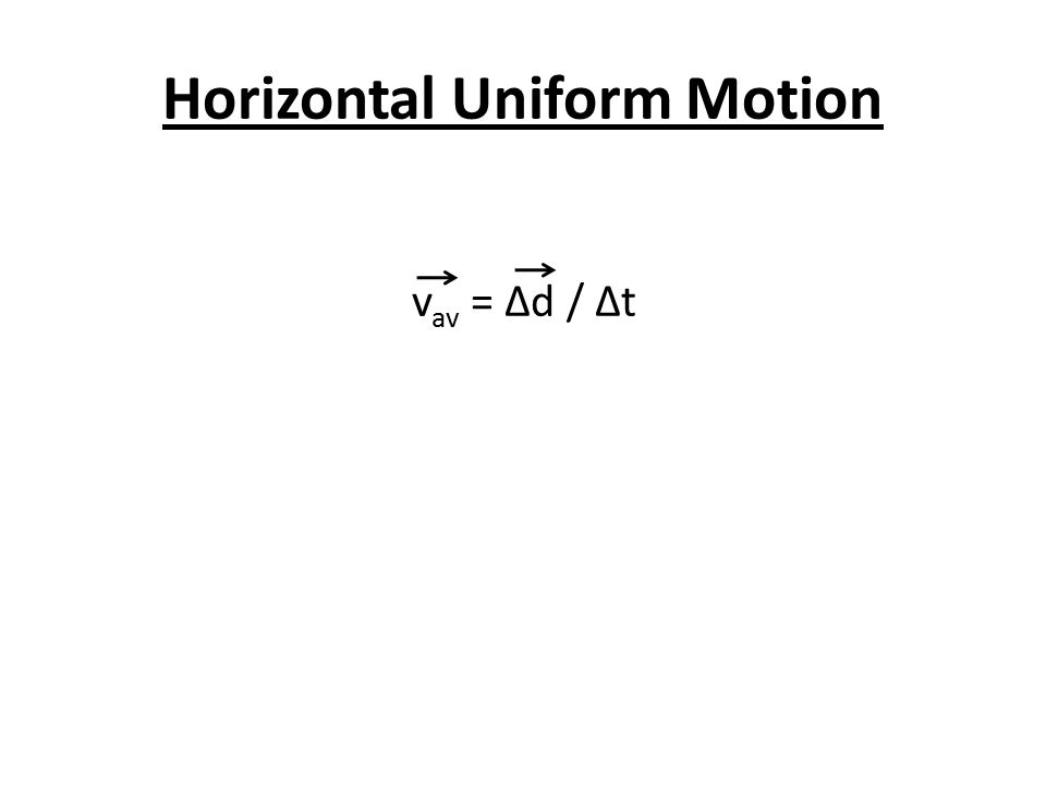 Horizontal Uniform Motion v av = Δd / ∆t