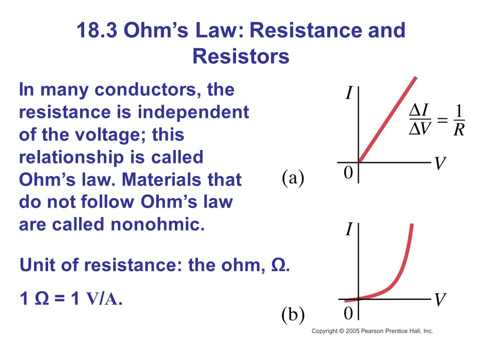 18.3 Ohm's Law: Resistance and Resistors In many conductors, the resistance is independent of the voltage; this relationship is called Ohm's law.