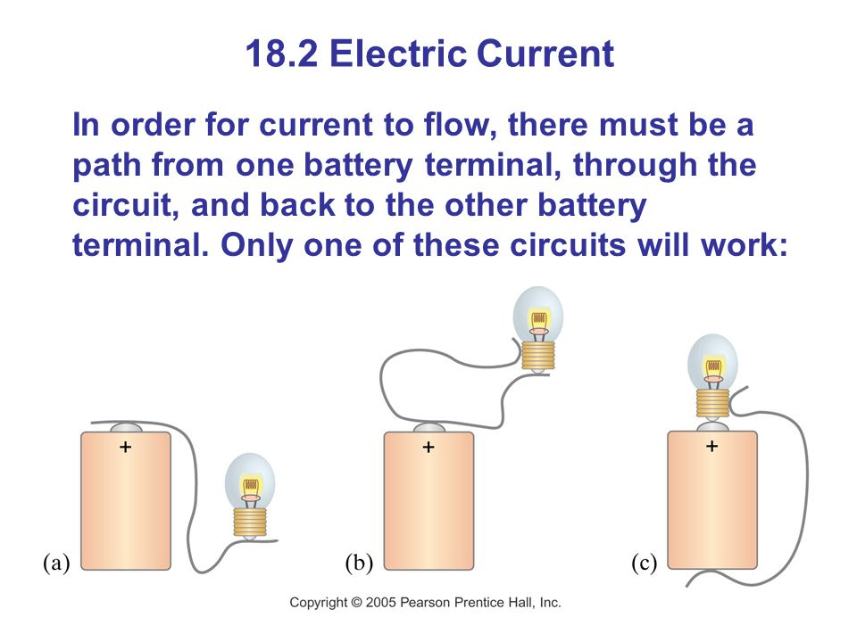 18.2 Electric Current In order for current to flow, there must be a path from one battery terminal, through the circuit, and back to the other battery terminal.
