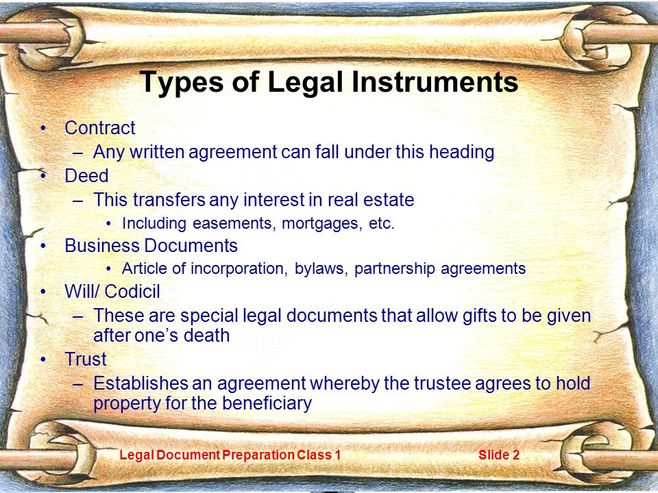 Legal Document Preparation Class 1slide 1 Basic Types Of Legal