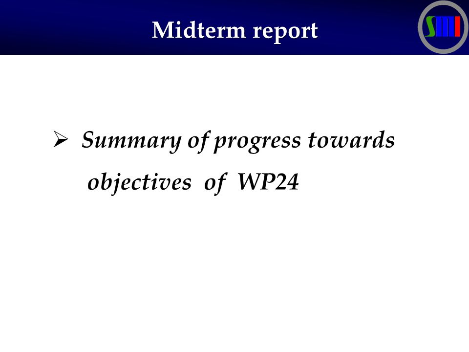 Midterm report  Summary of progress towards objectives of WP24