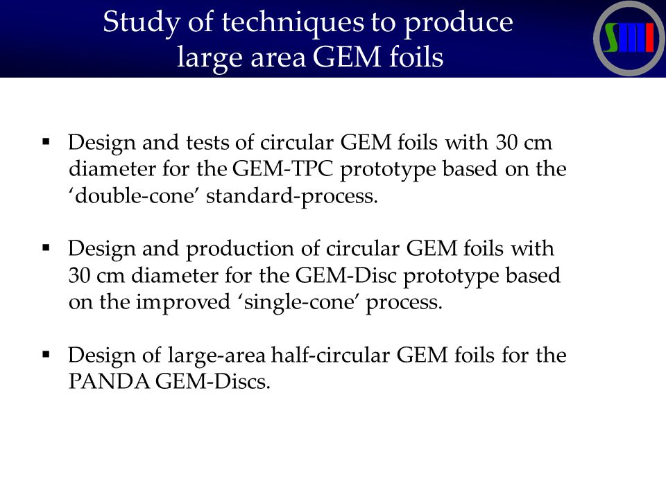 Study of techniques to produce large area GEM foils  Design and tests of circular GEM foils with 30 cm diameter for the GEM-TPC prototype based on the 'double-cone' standard-process.