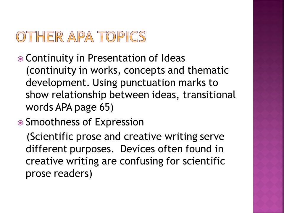  Continuity in Presentation of Ideas (continuity in works, concepts and thematic development.