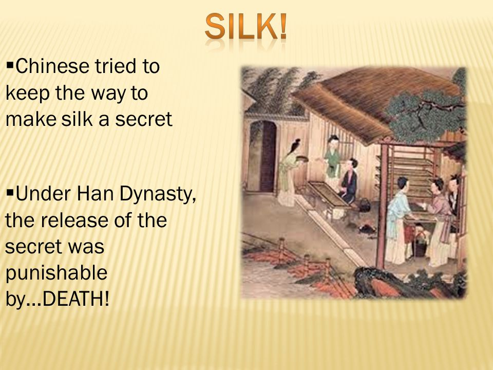  Chinese tried to keep the way to make silk a secret  Under Han Dynasty, the release of the secret was punishable by…DEATH!