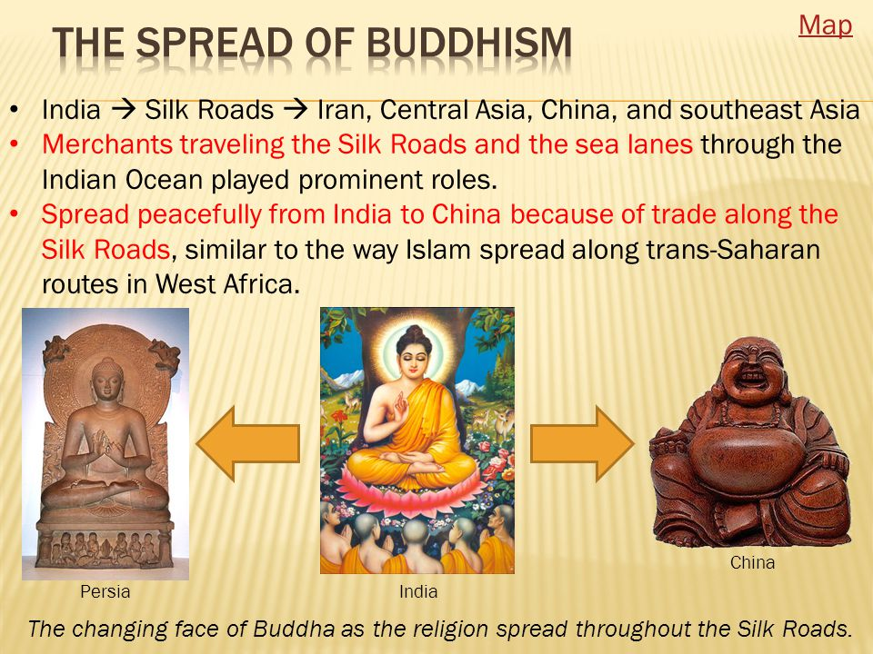 India  Silk Roads  Iran, Central Asia, China, and southeast Asia Merchants traveling the Silk Roads and the sea lanes through the Indian Ocean played prominent roles.
