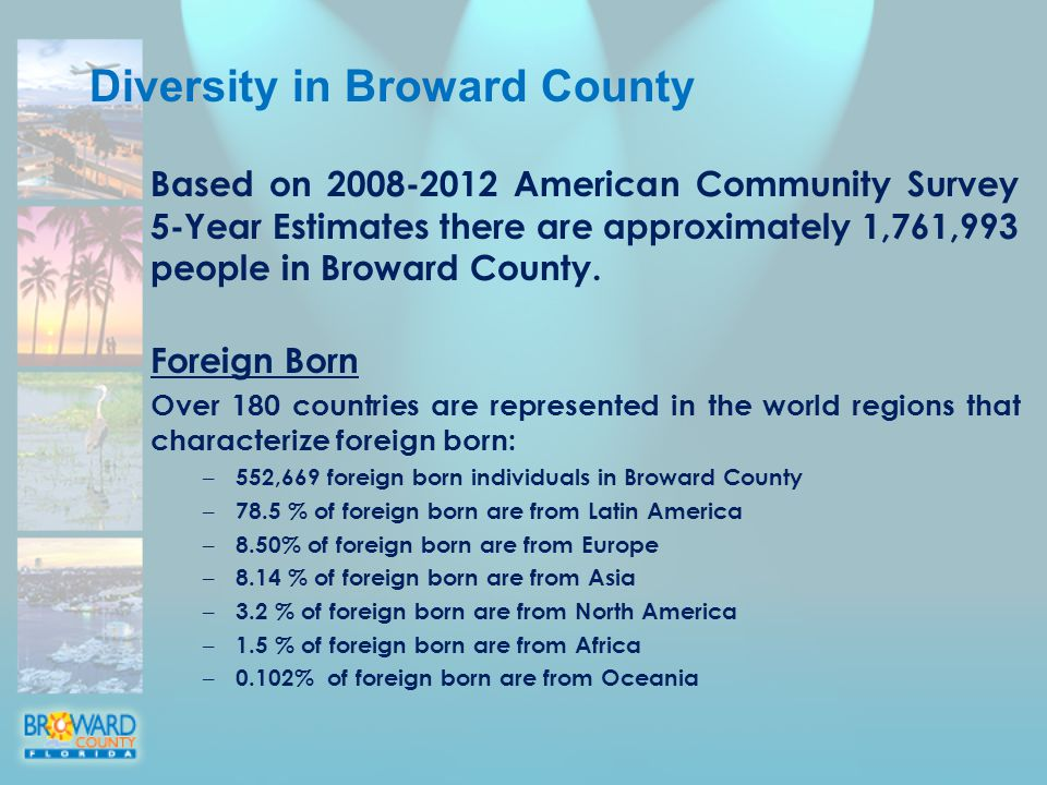 Based on American Community Survey 5-Year Estimates there are approximately 1,761,993 people in Broward County.