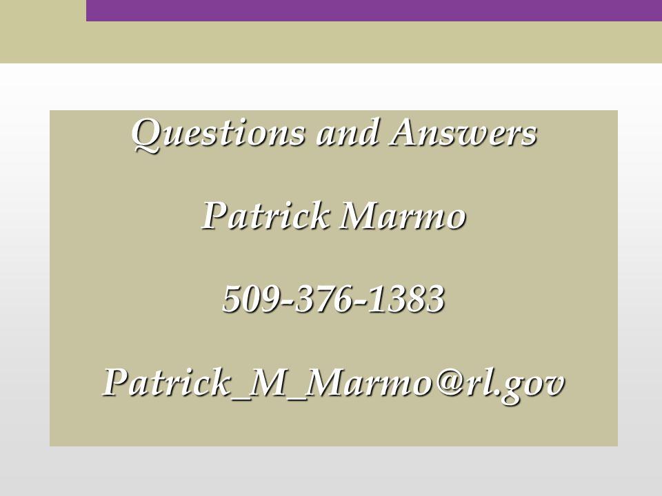 Questions and Answers Patrick Marmo