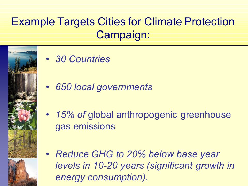 Example Targets Cities for Climate Protection Campaign: 30 Countries 650 local governments 15% of global anthropogenic greenhouse gas emissions Reduce GHG to 20% below base year levels in years (significant growth in energy consumption).