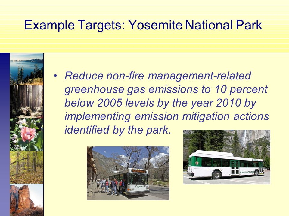 Example Targets: Yosemite National Park Reduce non-fire management-related greenhouse gas emissions to 10 percent below 2005 levels by the year 2010 by implementing emission mitigation actions identified by the park.