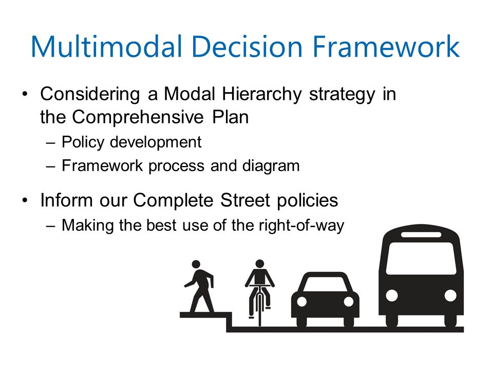 Multimodal Decision Framework Considering a Modal Hierarchy strategy in the Comprehensive Plan –Policy development –Framework process and diagram Inform our Complete Street policies –Making the best use of the right-of-way
