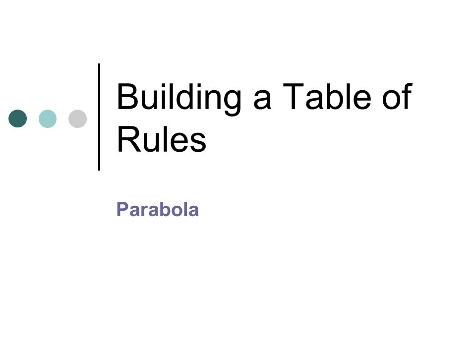 Building a Table of Rules Parabola