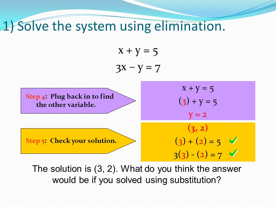 1) Solve the system using elimination. Step 4: Plug back in to find the other variable.