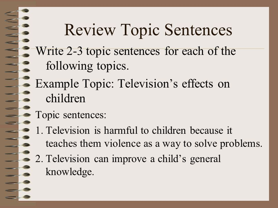 Review Topic Sentences Write 2-3 topic sentences for each of the following topics.