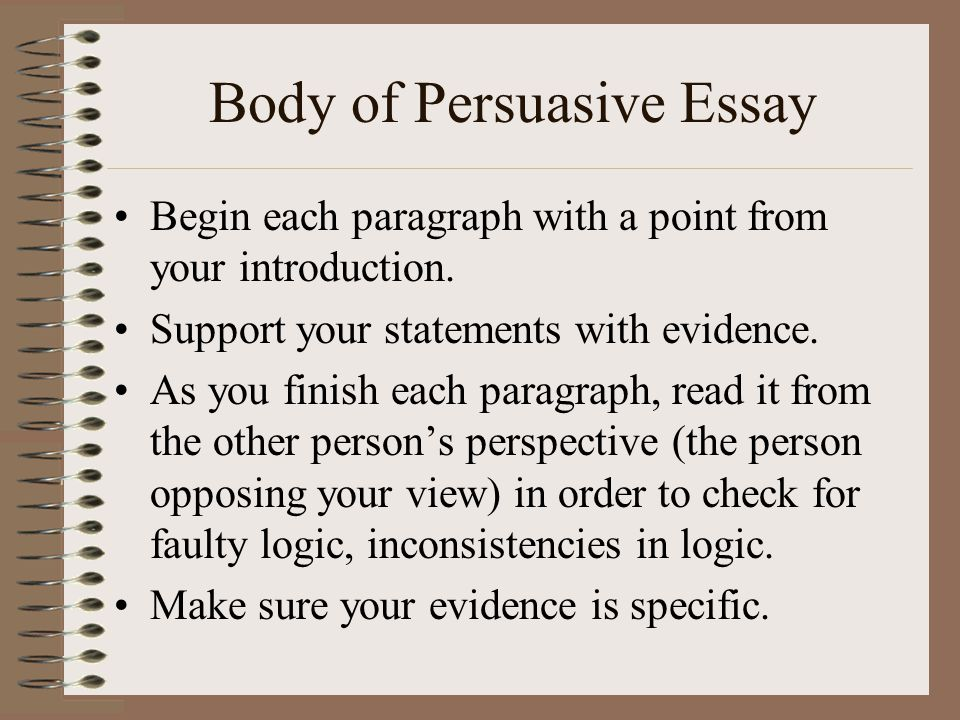 Body of Persuasive Essay Begin each paragraph with a point from your introduction.