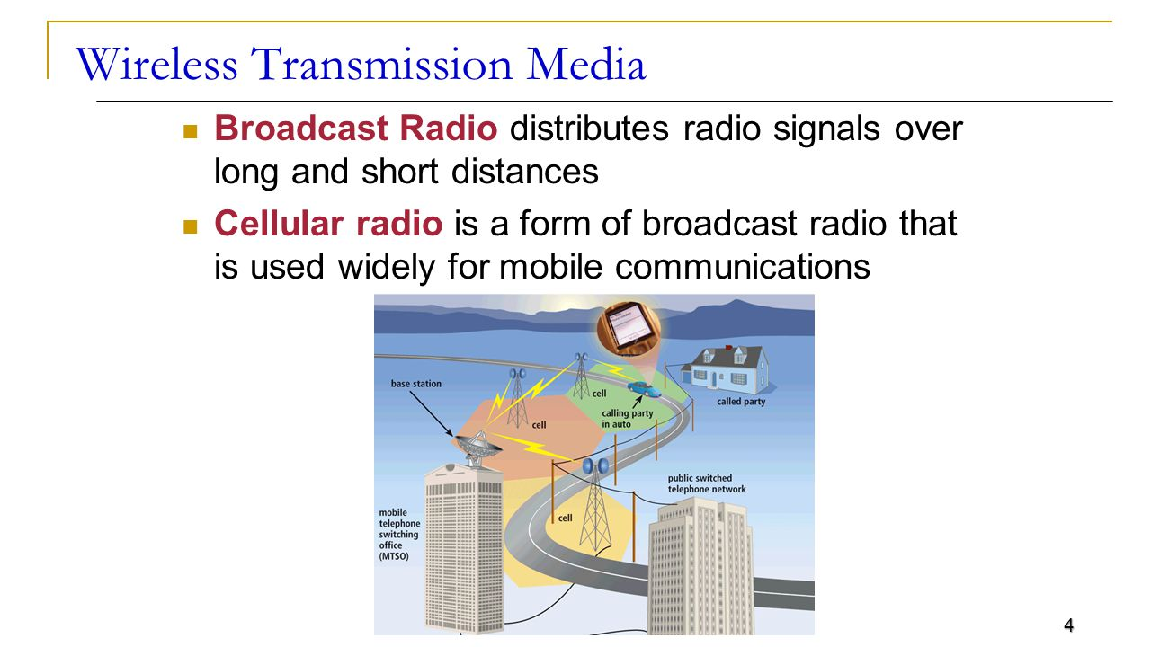 4 Wireless Transmission Media Broadcast Radio distributes radio signals over long and short distances Cellular radio is a form of broadcast radio that is used widely for mobile communications