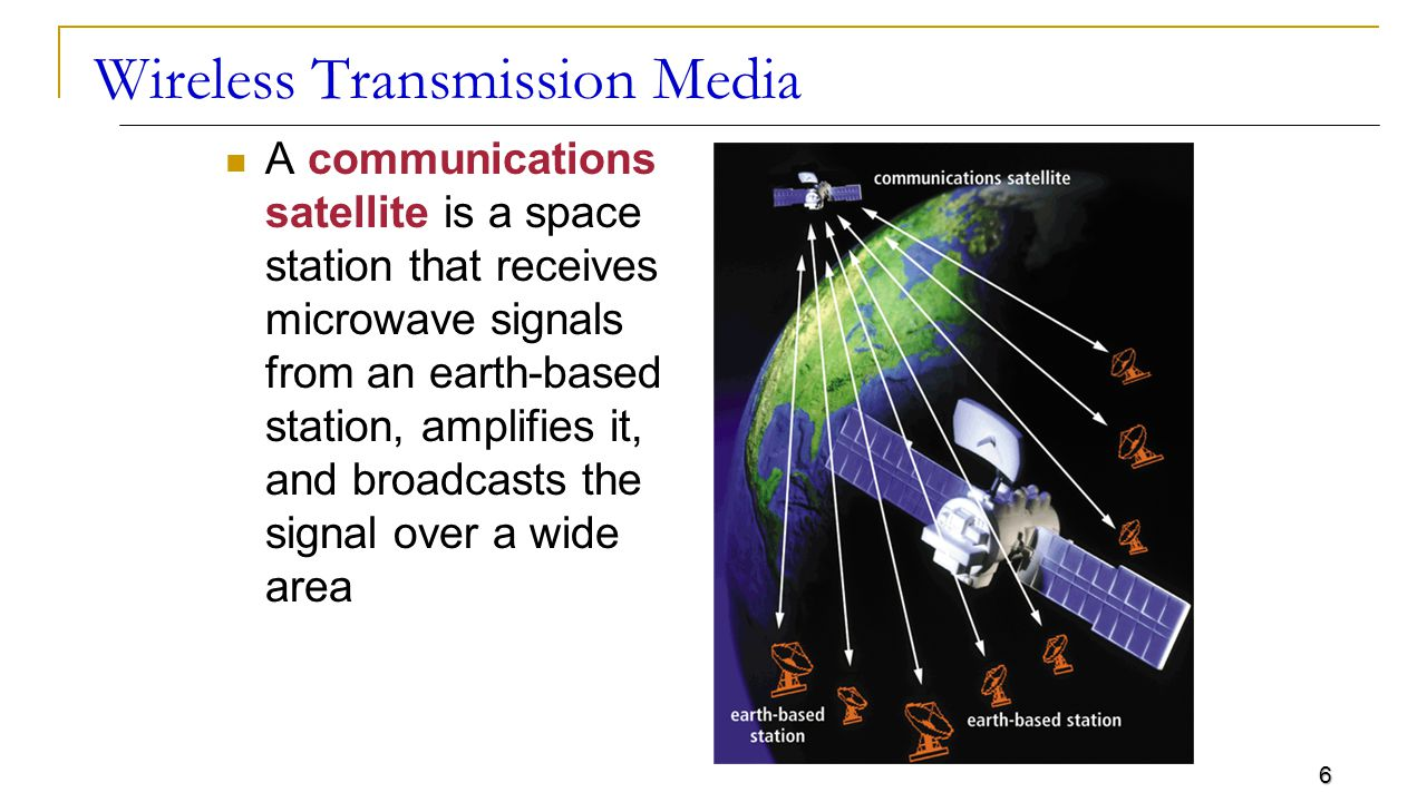 6 Wireless Transmission Media A communications satellite is a space station that receives microwave signals from an earth-based station, amplifies it, and broadcasts the signal over a wide area