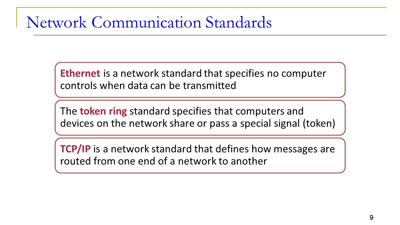 9 Network Communication Standards Ethernet is a network standard that specifies no computer controls when data can be transmitted The token ring standard specifies that computers and devices on the network share or pass a special signal (token) TCP/IP is a network standard that defines how messages are routed from one end of a network to another