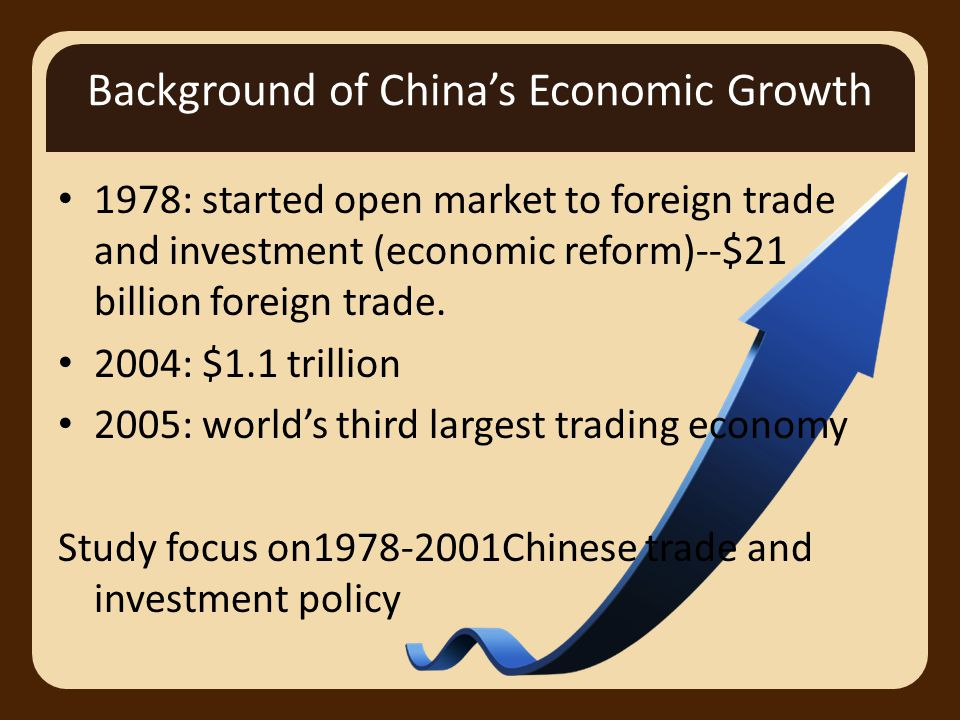 Background of China's Economic Growth 1978: started open market to foreign trade and investment (economic reform)--$21 billion foreign trade.