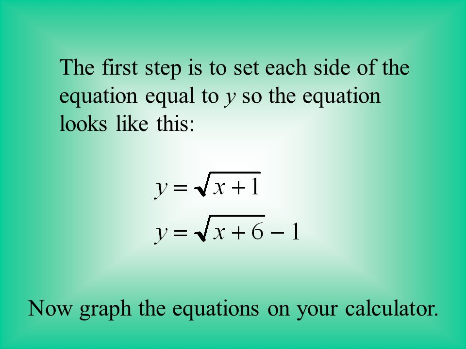 A radical equation can also be solved graphically.